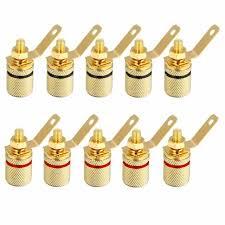 10pcs Gold Plated Speaker Binding Post Amplifier Terminal Banana ...