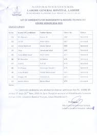 lgh lahore general hospital lahore list of candidates for radiography imaging technology district lahore