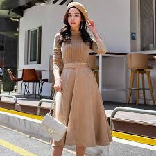 <b>Dabuwawa</b> Women Thick Ruffles Elegant Midi Dresses Long Sleeve ...
