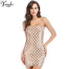 Sexy Women <b>Plaid Sequins</b> Summer <b>Dress</b> Sheath Spaghetti Strap ...