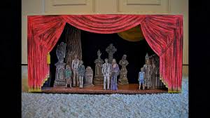 paper model of the addams family musical graveyard stage set design addams family set
