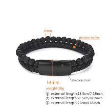 Jiayiqi 6MM <b>Natural Stone</b> Men <b>Bracelet</b> Black Genuine Leather ...