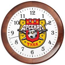 """Часы круглые из дерева """"Футбольный клуб,<b>Тульский арсенал</b> ..."""