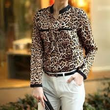 Details about NEW <b>Women Leopard</b> Print Long Sleeve <b>Chiffon Shirt</b> ...