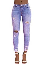 Glook Womens Mid Rise Stretch <b>Denim</b> Ripped But <b>Lifting Jeans</b> ...