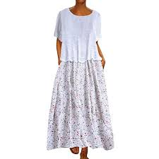 Women <b>Dresses</b>, QUNANEN Vintage Loose O-Neck <b>Broken</b> Flower ...