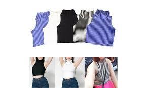 summer sexy tank tops casual crop women fashion knitting sleeveless shirt