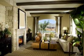 warm living room ideas: warm living room with exposed beams