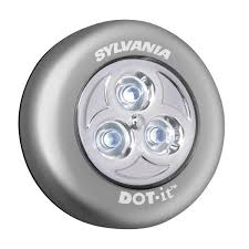 sylvania dot it led battery operated stick on tap light silver 36010 the home depot battery operated home lighting