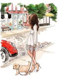 <b>Девушка</b> с собакой | drawing | Иллюстрации, Рисование моды и ...