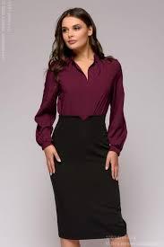 <b>Блузка ягодного</b> цвета с длинными рукавами 1001DRESS