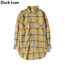 <b>DARK ICON</b> Flannel <b>Plaid</b> Shirt Men Hip-hop Shirt 2018 Streetwear ...