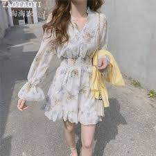 Leoom <b>Floral Print Long-Sleeve</b> Chiffon Dress | YesStyle