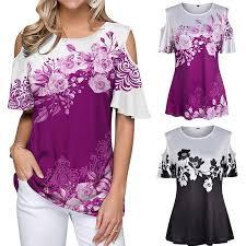 <b>Открыть</b> плечо футболку <b>женщин цветочные</b> топы блузка ...