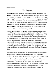x a grade higher english folio persuasive essays by biggles    persuasive essay   food waste docx