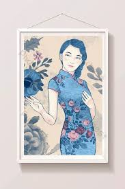 <b>Blue vintage chinese style</b> cheongsam republic woman illustration ...
