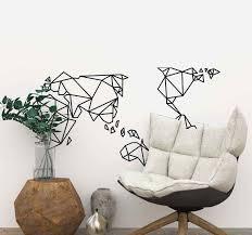 <b>Simple</b> origami <b>world map wall</b> sticker - TenStickers