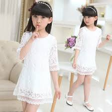 Kids <b>2018 new summer autumn</b> lace dress white large size girls ...