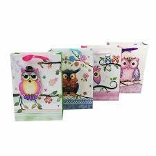 <b>Kraft</b> Paper Bags Owl <b>Flower Printed</b> With Ribbon For Birthday ...