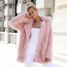 Simplee Elegant <b>faux</b> fur coat women <b>2018</b> Autumn <b>winter</b> warm soft ...