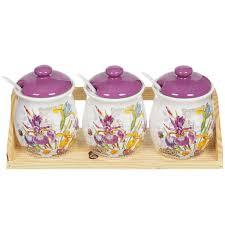 <b>Набор банок из керамики</b> для сыпучих продуктов Декор Ирис с ...