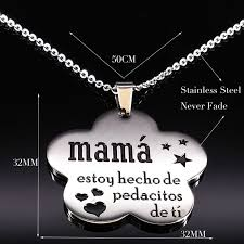 <b>2019</b> Mama <b>Stainless Steel</b> Chains Necklace for Women Black ...