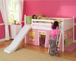 playhouse low loft bed w slide by maxtrix kids pinkyellowgreen bunk beds toddlers diy