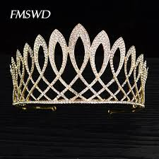 New Vintage Gold Color <b>Luxury</b> Baroque Crown <b>Rhinestone Crystal</b> ...