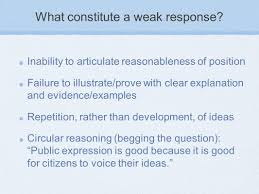 argument essay understanding and responding to the ap what constitute a weak response