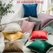 Velvet Pom Pom Various Colour Cushion Cover <b>Luxury</b> Seat Pad ...