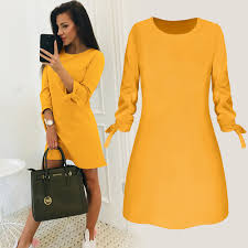 <b>2019 Spring New</b> Fashion Solid Color Dress <b>Casual</b> O Neck Loose ...