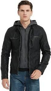 Bellivera Men's Faux Leather Jacket with Detachable ... - Amazon.com
