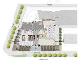 the ground floor plan showing the office lobby on the left retail space breezeway garage office