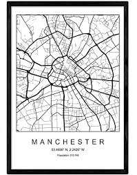 Blade <b>Manchester City</b> Map Nordic Style <b>Black and White</b>. Poster 11 ...