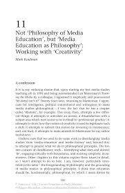 not philosophy of media education but media education as inside