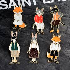 Cartoon <b>Animal Cat</b> Kitten Rabbit Bunny Fox <b>Brooch Pins Enamel</b> ...