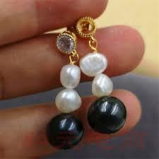 11-<b>12MM HUGE black</b> pearl earrings 18K gold plating baroque ...