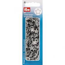 Prym Color Snaps Non-Sew Press Fasteners <b>Plastic</b> Star Silver <b>Grey</b> ...