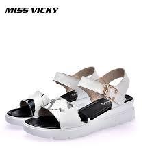 <b>MISS VICKY 2019 new</b> summer ladies sandals leather soft flat flat ...