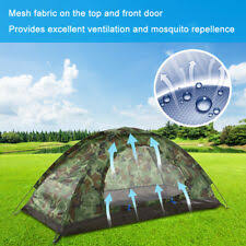 outdoor portable single layer camping hiking tent 2 person waterproof lightweight camouflage beach tourist sunshelter hunting