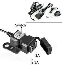 <b>12</b>-<b>24V</b> Waterproof <b>Dual</b> 2 USB <b>Motorcycle</b> Handlebar Charger ...
