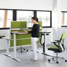 desk cool stand up office desk laminate wood top white powder coat steel base green attractive wooden office desk