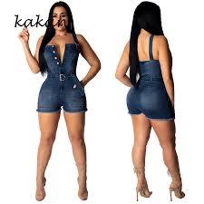 <b>Kakan summer new</b> women's denim jumpsuit short sexy strapless ...