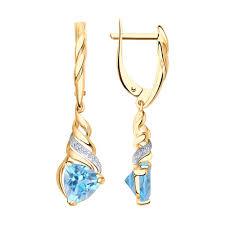 <b>Серьги длинные</b> из золота с топазами и фианитами <b>SOKOLOV</b> ...