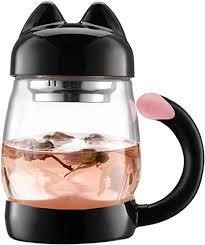 BZY1 420 ml / 14 oz Portable Cute Cat Tail Glass Tea ... - Amazon.com