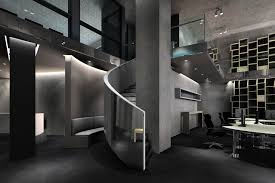 astonishing high tech office interior design with white wooden computer desk be equipped black fabric modern amazing black glass office