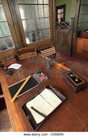 mid twentieth century office desk with associated office equipment and objects stock image century office equipment