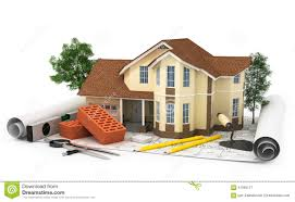 Construction Plan With House  Wood And Pencil Stock Illustration    Construction plan   house  wood and pencil