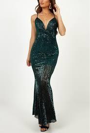 <b>Elegant Dark Green</b> Sequin Long Dress   shoprago.com