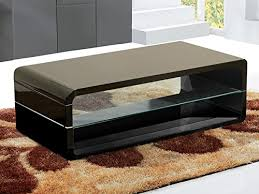 Requiredgoods Modern Black <b>High Gloss Coffee Table</b> Clear Glass ...